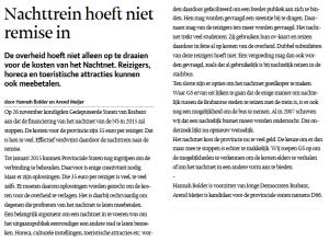 In het Eindhovens Dagblad legde ik met JD Brabant voorzitter Hannah Bolder uit hoe het nachtelijk vervoer gered kan worden.